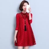 2018春冬装新款女装韩版大码宽松蕾丝连衣裙网纱长袖加绒打底衫