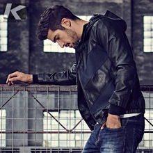 [Special] Men's Leather Clothes, Men's Caps, Men's Skills and Coloured Locomotives PU Leather Jacket, Moisture 004