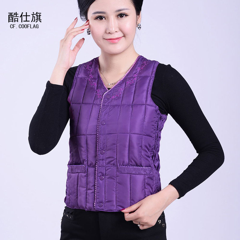Middle-aged lady cotton vest autumn and winter middle-aged feather cotton vest warm vest casual
