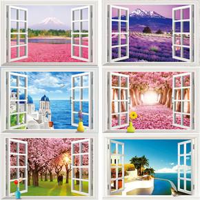 仿真创意3d立体墙贴贴画客厅卧室床头墙壁装饰贴纸假窗户风景画