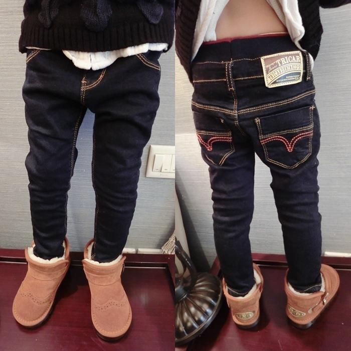 男童冬季加绒加厚裤子牛仔裤