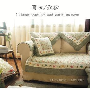 日式田园时尚加厚布艺全棉绣花绗缝沙发垫沙发套巾坐垫四季飘窗垫