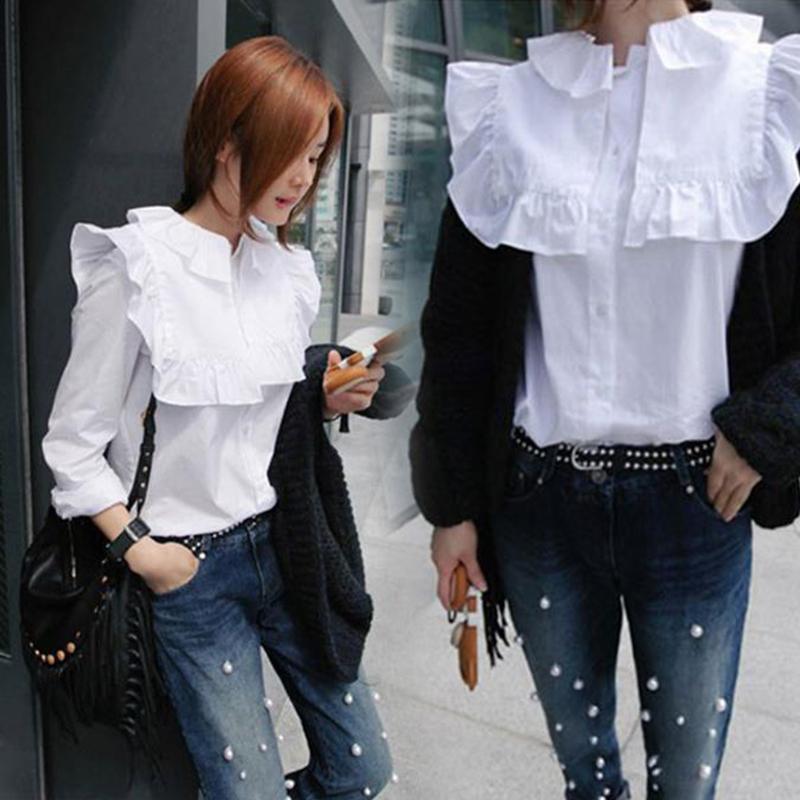 大翻圓領白襯衫