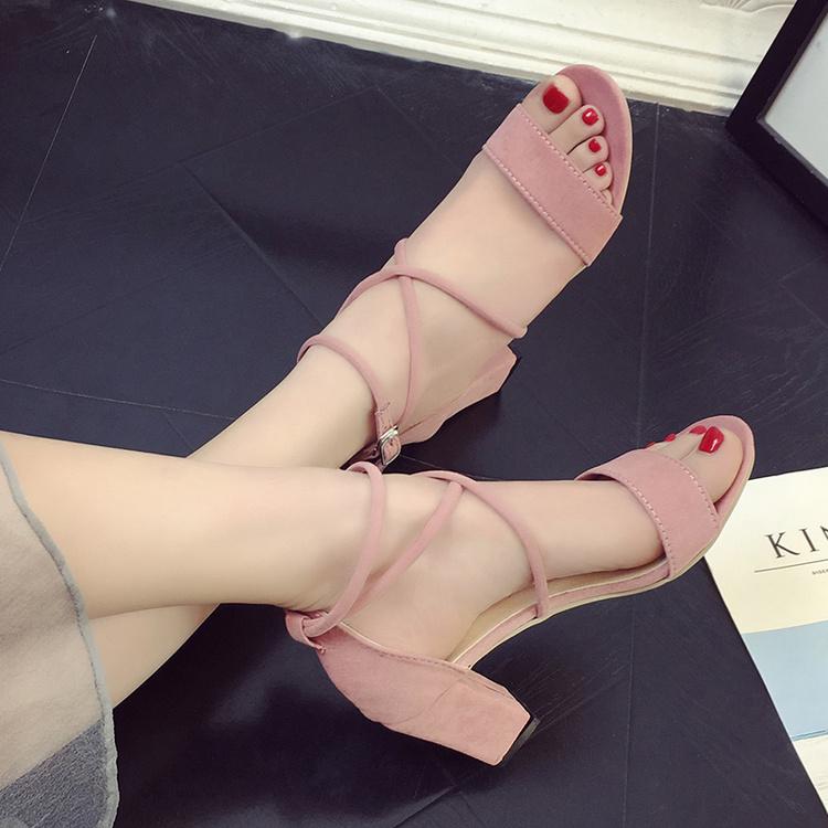 粉色高跟鞋罗马鱼嘴鞋