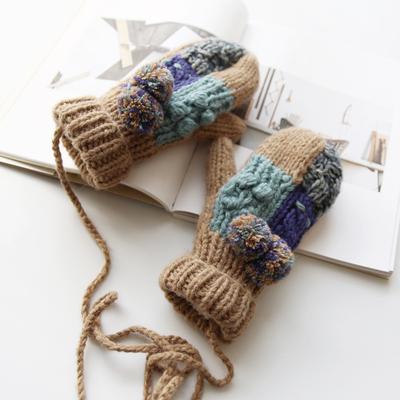 围美 秋冬季加绒全指手套女冬可爱韩版加厚挂脖学生保暖毛线手套