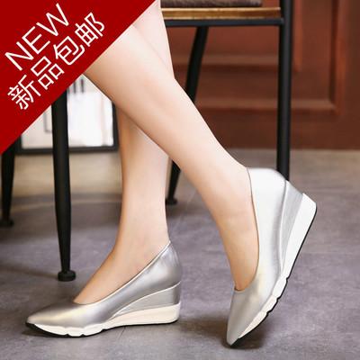 欧洲站2017春秋新款中跟厚底松糕尖头坡跟单鞋女舒适高跟浅口女鞋