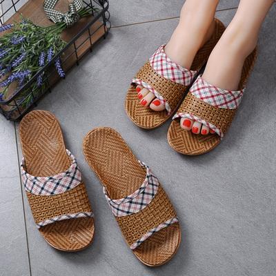 夏季室内男女家居防滑厚底夏天情侣居家木地板藤草托鞋家用凉拖鞋