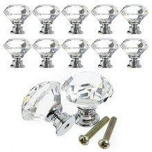 30mm Diamond Crystal Glass Door Knobs Drawer Cabinet Furnitu