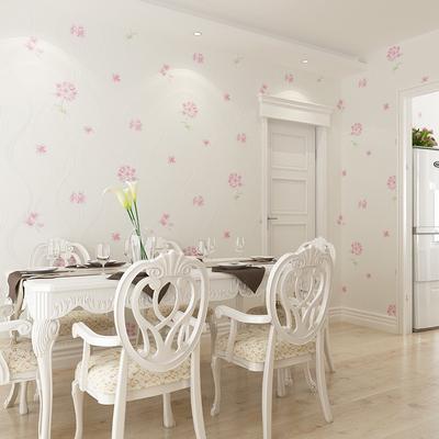 韩式温馨主卧室墙纸田园风格白底粉色壁纸清新简约现代婚房间装修正品折扣