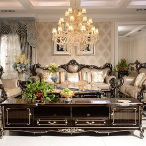 欧式新古典真皮沙发高端别墅大户型全实木沙发奢华住宅成套家具