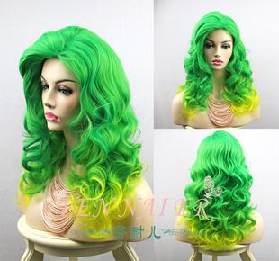 芬耐儿 绿色/黄色假发Lady Gaga发型长卷发渐变颜色cosplay已造型