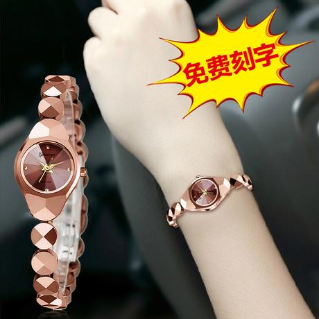 格诺雅正品钨钢手表女表时尚潮流韩版简约女士手表防水款2018新
