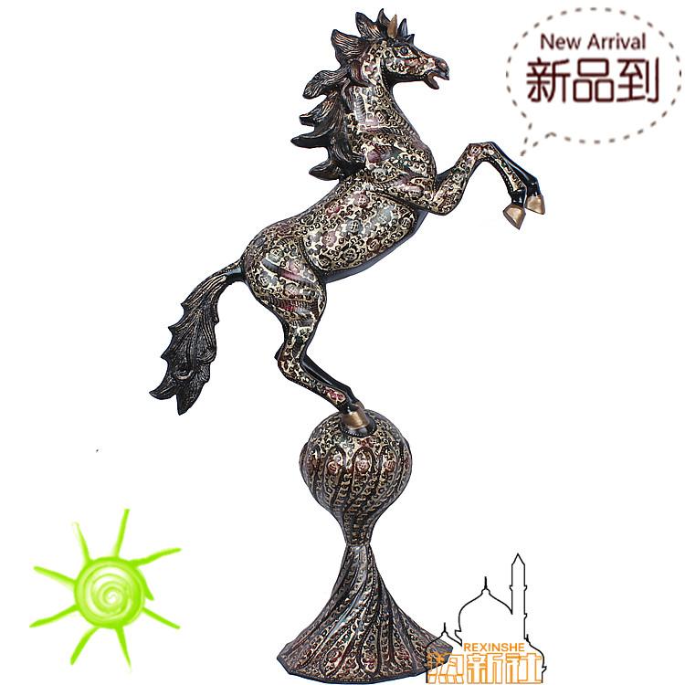 巴基斯坦进口铜器店庆镇店之宝黑漆彩踩球马精致做工开业送礼装饰