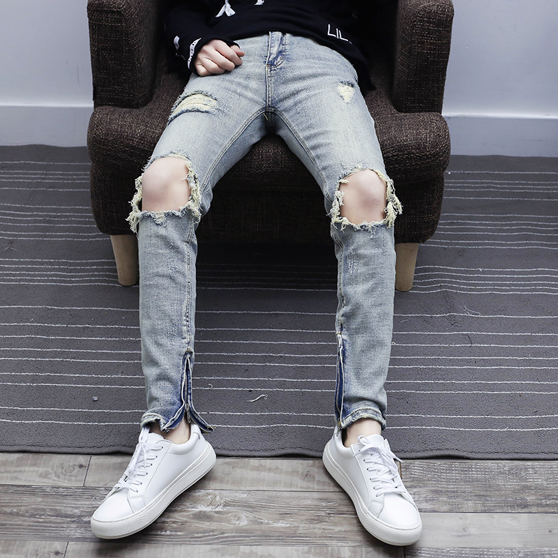 牛仔裤男个性做旧