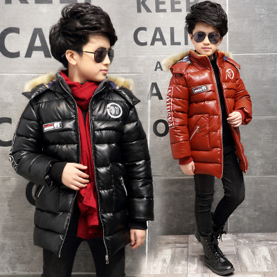 男童棉衣冬装2016新款儿童棉袄皮衣中长款外套加厚PU皮冬季中大童