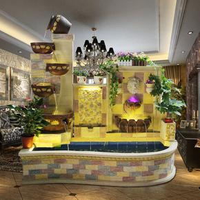 大型欧式流水喷泉鱼池鱼缸摆设室内阳台别墅庭院客厅假山风水摆件