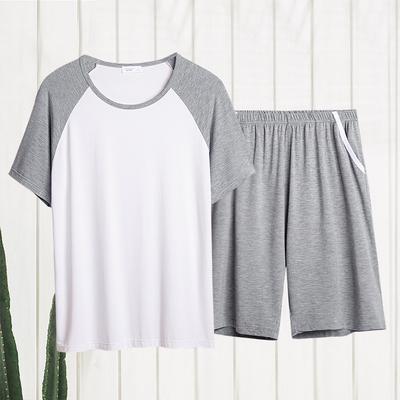 夏季男士睡衣冰丝家居服薄款莫代尔加大码青年潮短袖短裤两件套装