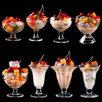 创意雪糕杯无铅玻璃杯子果汁甜品杯沙拉碗冷饮冰淇淋冰沙杯奶昔杯