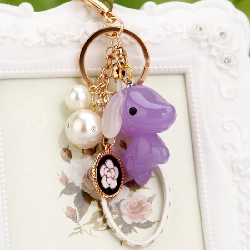 韩国创意礼品可爱水晶水钻小狗汽车钥匙扣女包挂件钥匙链手机饰品
