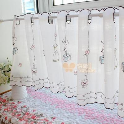 小清新成品咖啡帘半帘 女孩礼物儿童房穿杆窗帘 厨房纱帘橱柜短帘