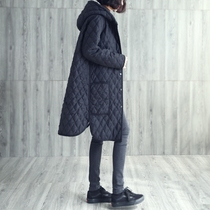 冬季加厚棉衣女装中长款宽松大码长过膝文艺菱形格大口袋连帽外套