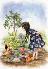 超清晰彩色十字绣重绘图纸源文件森林女孩日记12