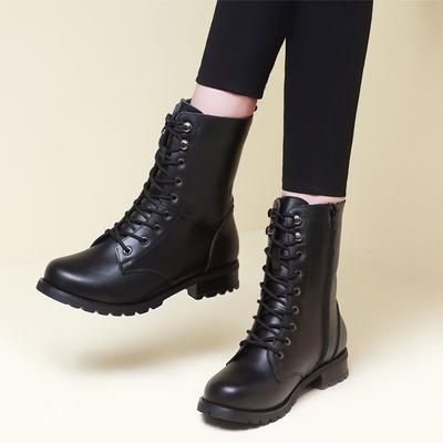 秋冬季马丁靴女英伦风真皮中筒靴短靴平跟军靴春秋女鞋平底女靴子