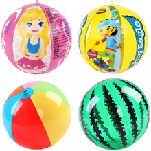 卡通PVC充气戏水球西瓜沙滩球六色彩球儿童宝宝水上乐园玩具球图片