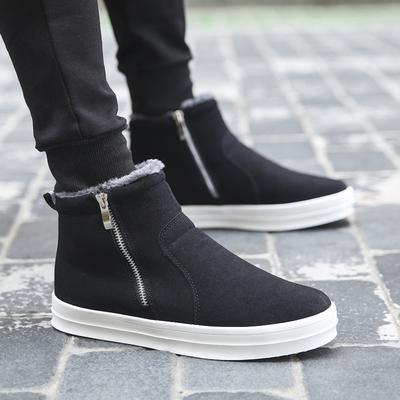 冬季雪地靴男英伦加绒高帮鞋男棉鞋保暖短靴子冬天男鞋子潮流棉靴