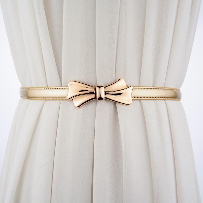 漆皮蝴蝶结腰带