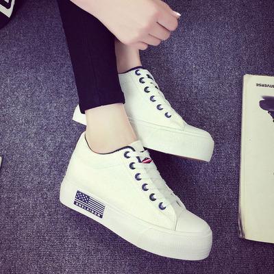 春季白色帆布鞋女韩版学生厚底松糕内增高女鞋百搭休闲板鞋小白鞋