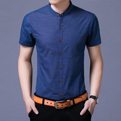 新品雅戈尔男士短袖衬衫中青年纯色立领休闲棉衬衣大码修身职业潮