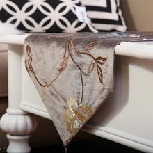 咖啡色手工刺绣牡丹雪尼尔布艺桌旗床旗餐垫新中式样板间餐桌茶几