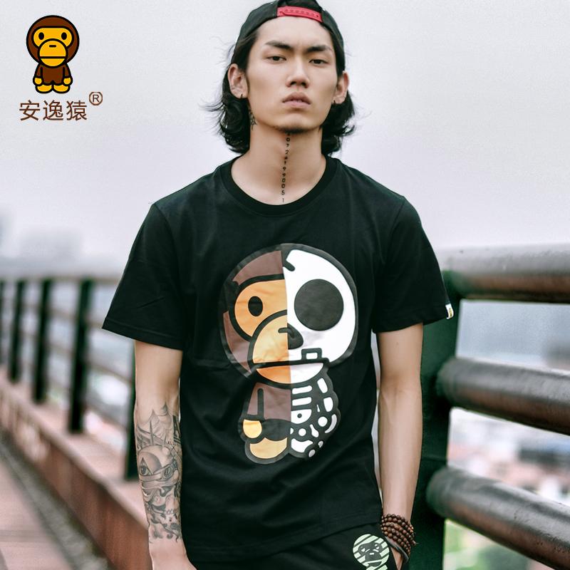 安逸猿Ape骷髏頭2016新款夏男裝t恤短袖寬松大碼歐美潮牌可愛卡通