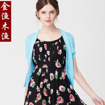 金渔韩版夏季 短袖针织小开衫 短款宽松防晒外搭 坎肩大码披肩薄
