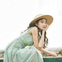 无有无印夏季新款优雅水波绿格子连衣裙无袖蕾丝大摆连衣裙M16345
