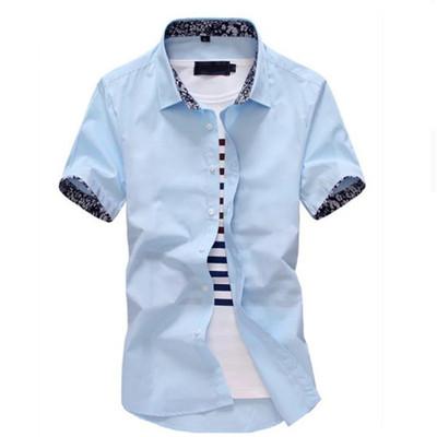 短袖衬衫男士纯色碎花韩版休闲白色潮流修身商务青年男装衬衣免烫