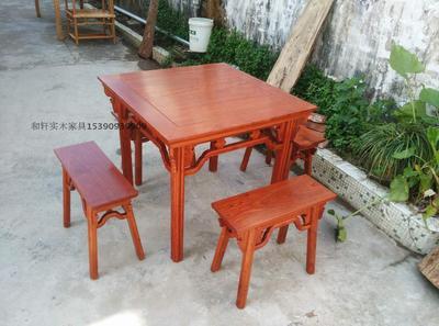 和轩实木家具/缅甸花梨木明式八仙桌/一腿三牙桌/餐桌/画案品牌旗舰店