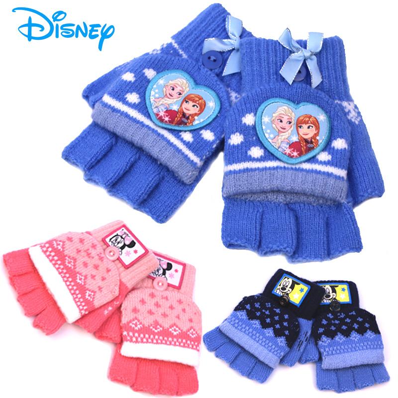 迪士尼儿童手套冬保暖五指男童女童小孩卡通翻盖半指宝宝毛线手套