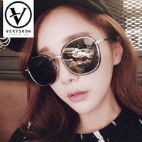 2018新款韩版圆框时尚偏光太阳镜女明星潮牌大框圆脸墨镜女gm
