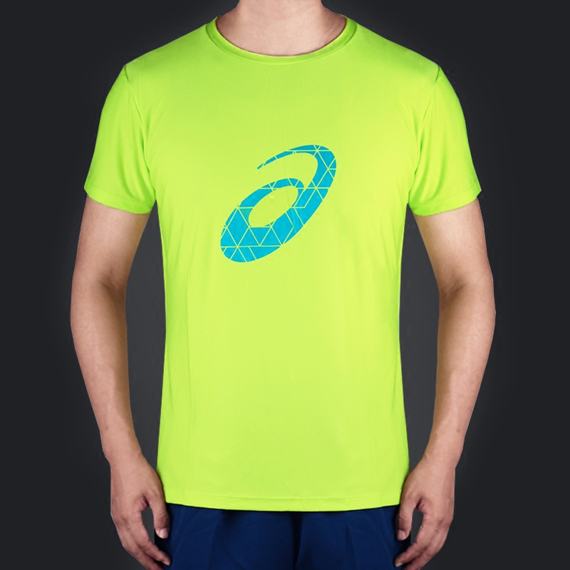 ASICS亚瑟士跑步T恤女男速干圆领短袖纯色透气套装短裤运动背心