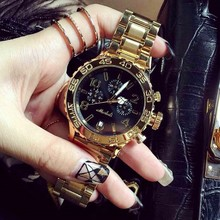 Marsally's Watchboard Fashion Student's Watch Tuhao Gold Steel Belt Fashion Waterproof Quartz Watch