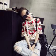 印花T恤韩版 闺蜜姐妹学生卡通宽松大码 打底衫 新款 短袖 女装 春夏装