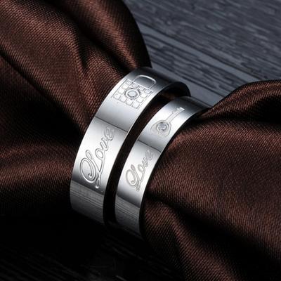 ARC情侣戒指对戒一对 男士钛钢尾戒指女日韩潮人简约光面免费刻字