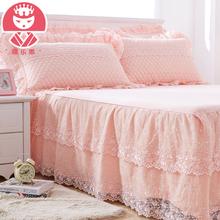缇乐思纯棉防滑蕾丝床裙床罩单件韩版夹棉床单1.5米1.8/2.0m床套