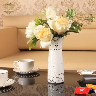 美瓷工坊欧式田园花插镂空花瓶陶瓷台面花器简约创意结婚送礼2342