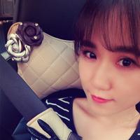 韩国女士创意颈枕汽车头枕车用护颈枕靠枕套装卡通可爱时尚山茶花