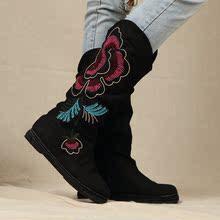 新款盛世牡丹民族风绣花靴子复古千层底老?#26412;?#24067;靴高筒内增高女靴