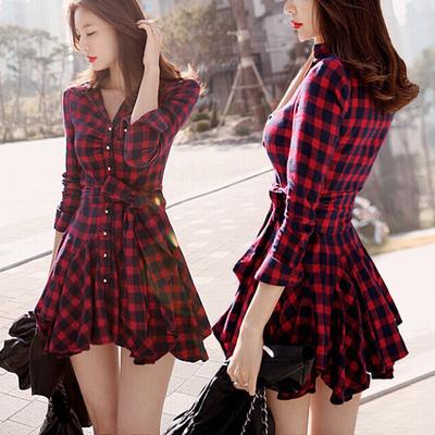 新款修身长袖红色格子气质收腰秋冬款衬衫裙子春装连衣裙