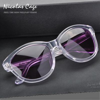 Nicolas cage韩版太阳镜复古墨镜透明板材偏光镜圆脸可配近视度数